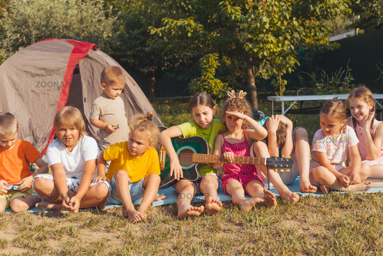 children's party in the backyard in the summer