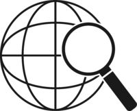 internet search symbol with globe and magnifying glass