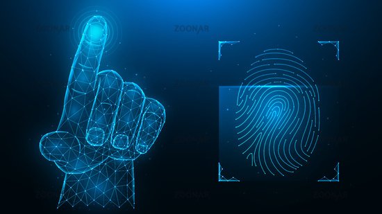 Fingerprint identification concept. Biometric data low poly design. Polygonal vector illustration of a hand pressing with an index finger and a fingerprint on a blue background.