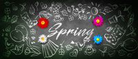 Funny spring word witten on chalkboad background.