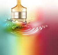 Paintbrush in a paint splash