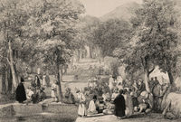 The Garden of Emperor Zahir ad-Din Muhammad Babur, Kabul, Afghanistan, First Anglo-Afghan War, sketch by James Atkinson, 1839