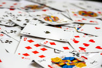 Classic playing card game laid out on a table