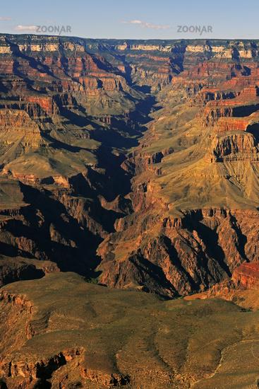 Sonnenuntergang Yavapai Point, Bright Angel Canyon,  Grand Canyo