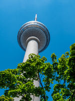 Berlin Television Tower from low angle during summer, germany