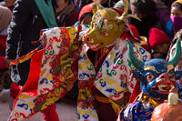 Mask dance performed by a Buddhist monk. Spituk Monastery, Ladakh