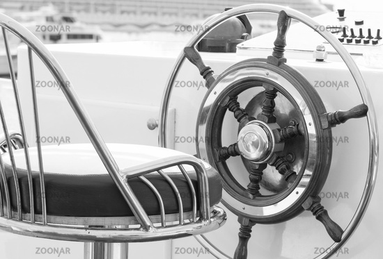 Yacht rudder in black and white