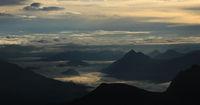 Mystic morning scene in the  Swiss Alps.