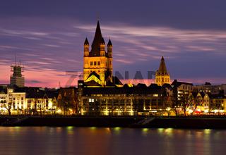 Historic center of Cologne at dusk
