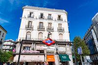 Sol Metro station sign in Puerta del Sol in Madrid