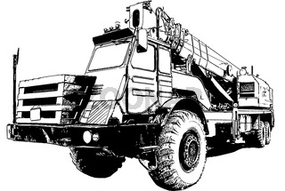 Vector image of an industrial truck crane