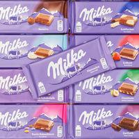 Milka Schokolade Schokoladen verschiedene Sorten Hintergrund quadratisch