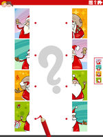 match halves of pictures with Santa Claus educational task