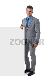 Business man in suit with banner
