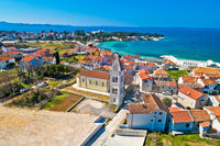 Petrcane village tourist destination church and waterfront aerial view