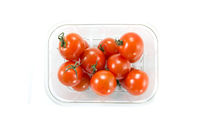 Cherry tomatoes in a store box