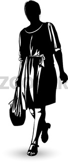 Black and white image of a woman walking with a package in her hand