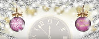 Merry Christmas Frozen Twigs Snowfall 2 Pink Baubles Clock Header