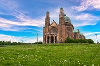 Brussels Belgium, city skyline at Koekelberg Basilica of the Sacred Heart of Brussels (Sacre Coeur)
