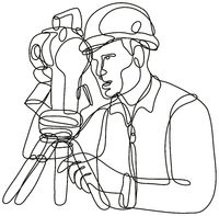 Geodetic Surveyor Using a Theodolite Continuous Line Drawing