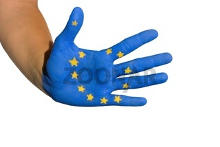 Hand with european flag
