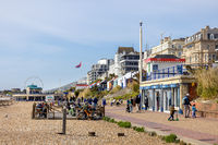 EASTBOURNE, EAST SUSSEX, UK - MAY 3 : View of the Promenade in Eastbourne on May 3, 2021. Unidentified people