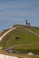 BEACHY HEAD, SUSSEX, UK - MAY 11 : The Belle Toute Lighthouse at Beachy Head in Sussex on May 11, 2011. Unidentified people