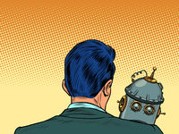 An emotional robot is sad on the shoulder of its creator. Engineer and product. Artificial intelligence and humanity