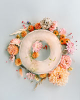 Flowers around ring shaped ice