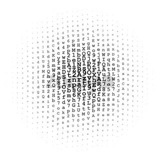 Halftone circle made of letters and digits