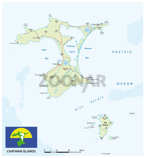 vector map of New Zealand archipelago Chatham Islands with flag