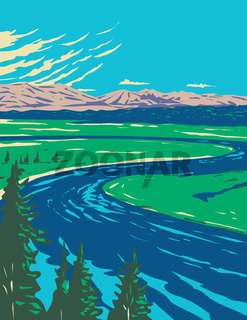 Yellowstone River in Hayden Valley Located in Yellowstone National Park Wyoming United States of America WPA Poster Art