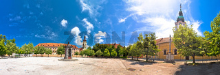 Town of Karlovac main square architecture and nature panoramic view