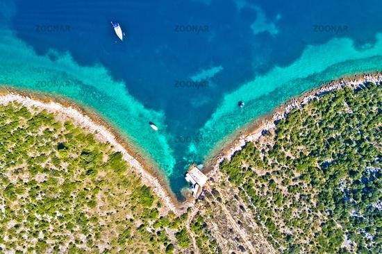 Zadar archipelago Galesnjak island coastline sailing bay aerial view