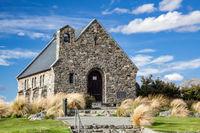LAKE TEKAPO, MACKENZIE REGION, NEW ZEALAND - FEBRUARY 23 : Church of the Good Shepherd at Lake Tekapo in New Zealand on February 23, 2012