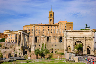 Roman Forum, a forum surrounded by ruins in Rome, Italy