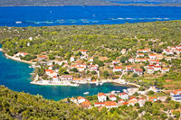 Village of Luka on Dugi Otok island harbor and waterfront panoramic view
