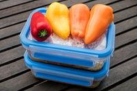 tupperbüchsen mit gesunder ernährung und paprika