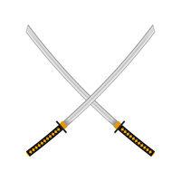 Set of Ninja Sword. Asian Traditional Weapon. Katana Logo