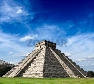 Travel Mexico background - Anicent Maya mayan pyramid El Castillo (Kukulkan) in Chichen-Itza