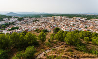 Panorama view from the castle 'Santa Anna' on the Spanish old town with the church 'San Roque', Oliva, Spain
