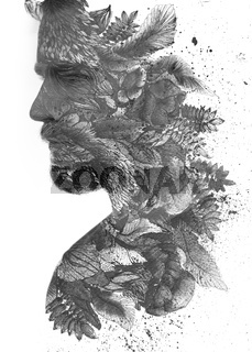 A portrait of a handsome man combined with an ink painting of the leaves. Paintography.