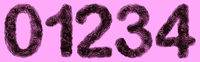 Bacteria in shape of 3D digits 0, 1, 2, 3, 4 on violet background