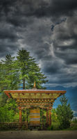 Prayer wheel in the Semtokha Dzong at Thimphu, Bhutan