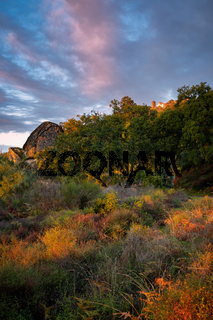 Monsanto historic stone village at sunset with red and yellow landscape, in Portugal