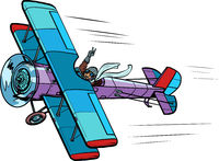 retro airplane with a female pilot Pop art retro illustration
