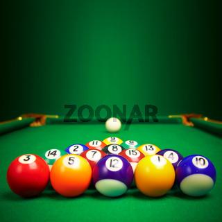 billiard balls  with copy space