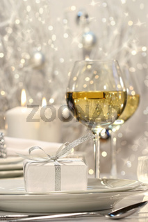 Silver ribbon gift with festive background