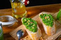 rustic wild garlic pesto baguette