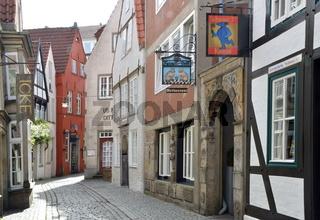 Historische Bauwerke im alten Schnoor Viertel in der Hanse Stadt Bremen